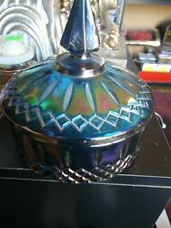Indiana Glass Candy Dish Bowl W/ Lid Vintage - Princess Blue Carnival Iridescent