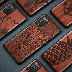 Carved Wood Case For Samsung Galaxy S20 S21 Note 10 20 Shockproof Cartoon Covers