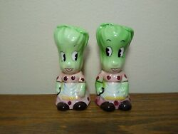 Vintage Anthropomorphic Py Miyao Lettuce Salt And Pepper Shakers Japan