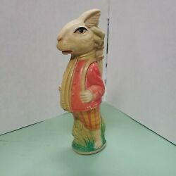 5 1/2 Tall Easter Bunny Golfer Celluloid Baby Rattle Golf Golfing