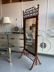 Fantastic Hollywood Regency Bamboo Cheval Mirror With Fretwork