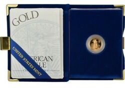1999-w American Gold Eagle Proof 1/10 Oz 5 In Ogp
