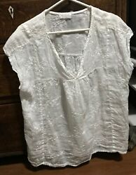 Cp Shades Size L White Floral Embroidered Cap Sleeve Linen Top Tunic