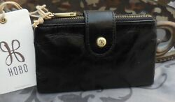 Hobo International RAY Vintage Leather Bifold Compact Wallet BLACK NWT $98 $59.95