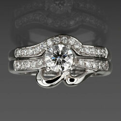 1.45 Ct Solitaire And Accents Diamond Band Set Ring Women Si1 14 Karat White Gold