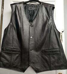 ☆wilsonand039s Leather☆mens 3xl Black Vest Button Down Front Nwt Msrp 400 Very Cool