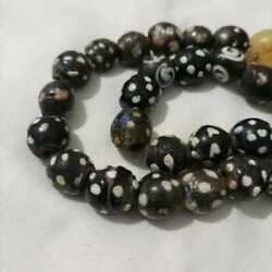 Antique Beads Glass Old Ancient Doted Black And White Glass Beads Roman