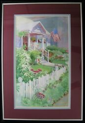 Lynn Powers 1950-2016 Watercolor Painting Albany Oregon 4th Of July House Flag