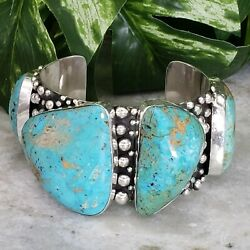 Studded Silver Navajo Jewelry Native American Turquoise New Cuff Bracelet Gem