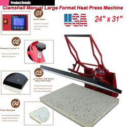 Us 24x31 Clamshell Manual Large Format T-shirts Sublimation Heat Press Machine