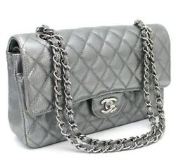 Coated Leather Classic 25 Double Flap Chain Shoulder Bag Silver 10256