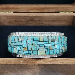 Navajo Native American Jewelry Alvin Yellowhorse Signed Turquoise Cuff Bracelet