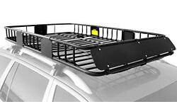 Roof Rack Carrier Basket Rooftop Cargo Carrier With Extension Black Car Top