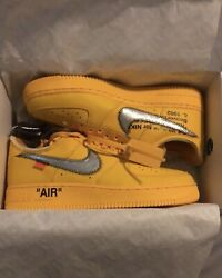 Nike Off-white Air Force 1 Low University Gold Dd1876 Lemonade Size 8.5 In Hand