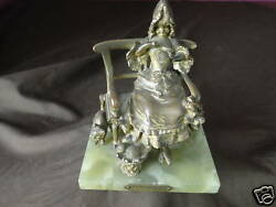 La Devideuse By Maxim Bronze Statue C.1900 French Signed Lovely Antique Art