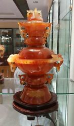 China Rare Natural 100 Red Agate Onyx Beast Handle Round Incense Burner Censer