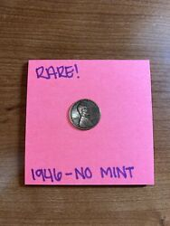 1946 Lincoln Wheat Penny No Mint Mark Rare And Htf One Cent Coin