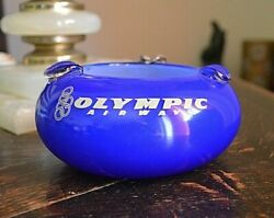Greek Olympic Airways Collectible Vintage Glass Ashtray Excellent Condition