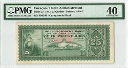 Curacao 25 Gulden 1943 Netherlands Antilles Pick 27 Pmg Extremely Fine 40