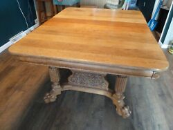 Antique Victorian Clawfoot Dining Table W/ 3 Leaves And 4 Period Chairs, Seats 10