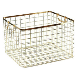Metal Wire Dirty Clothes Basket Laundry Storage Bin Baskets With 2 Handles-rose