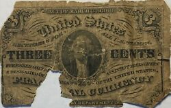 1863 Us Fractional Currency 3 Cents Paper Money