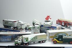 Lot Of 7 Vintage Hess Trucks W/ Boxes 3 Made In Hong Kong, 4 China Toy Light