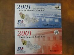 2001 Us Mint Pandd Uncirculated Coin Set W/state Quarters, W/ Sac Dollar