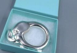 And Co. Sterling Silver Elephant Baby Teether Rattle Ring In Pouch And Box