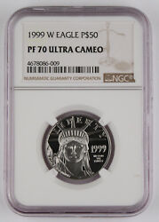 1999 W 50 1/2 Oz 9995 Platinum American Eagle Proof Coin Ngc Pf70 Uc