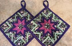 New Extra Thick Hot Pads - Amish Folded Star - Tiny Purple Flowers