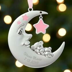 Personalized Moon And Stars Baby Girl's 1st Christmas Ornament Metal 3.5diam