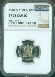 1984 South Africa 10 Cents Ngc Pf 68 Cameo Mac Spotless Quality✔️