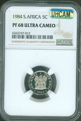 1984 South Africa 5 Cents Ngc Pf-68 Mac Ultra Heavy Cameo Quality✔️