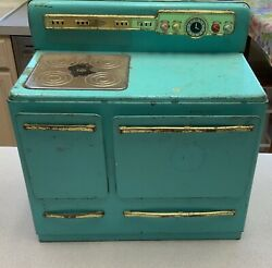 Vintage 1950s Wolverine Electric Turquoise Tin Metal Stove Oven Toy Working