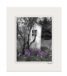 Purple Gray Home Decor Bathroom Vintage Outhouse Flowers Photo Matted Artwork