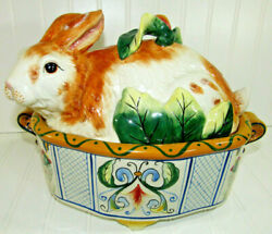 Fitz And Floyd Classics Bunny Rabbit Easter Ricamo Soup Tureen And Ladle Ceramic
