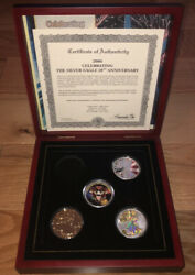 2006 Morgan Mint 20th Anniversary Silver Eagle Set Gold Plated Colorized. Read.