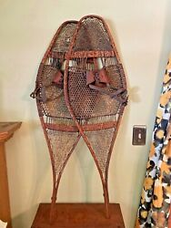Large Primitive Vintage 14x43 Snowshoes Wooden And Leather - Awesome Cabin Decor
