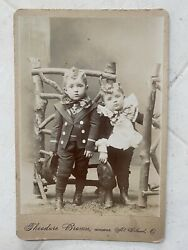 Antique Cabinet Card Two Small Boys With Big Fancy Bow Ties In Mt. Gilead Ohio