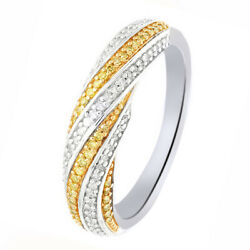 1/4 Ct Round Cut Yellow Natural Diamond Sterling Silver Wedding Band Ring