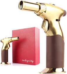 Luxury 2-in-1 All Adjustable With One Hand - Gold - Powerful Butane Torch