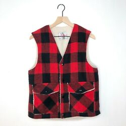 Vintage Weatherguard By Shane Buffalo Plaid Vest Sherpa Lined Soloff And Son Red