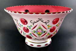 Vintage Rare Bohemian Czech Milk White Glass Cut To Cranberry Pink Hand Painted