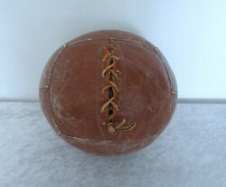 Vtg Antique Leather Medicine Ball Fitness Box Train Hand Laced 9 Lbs 12 Panels