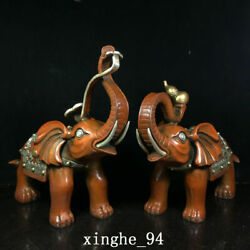 11 China Old Antique Dynasty A Pair Exquisite Bronze Gilt Elephant Statue