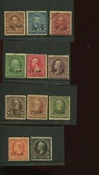 Guam 1-8 And 10-12s Specimen Overprint Rare Mint Run On 11 Stamps By 701