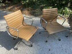 Eames Aluminum Group Management Chairs - Tan Eames Office Edition - Pair