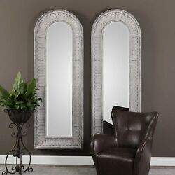 Two Xxl 89 Vintage Embossed Metal Wall Mirror Forged Iron Sloped Uttermost