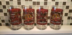 Lot Of 4 Vintage Mcdonalds Coca Cola Coke Stained Glass Drinking Glasses